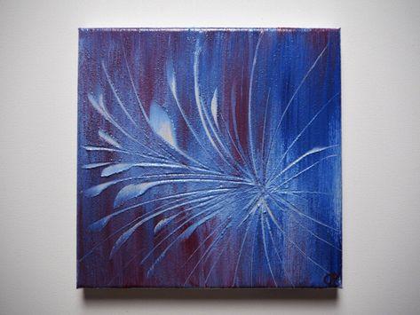Original Abstraktes Bild Gemalde Blau Lila Wandbild Modernes