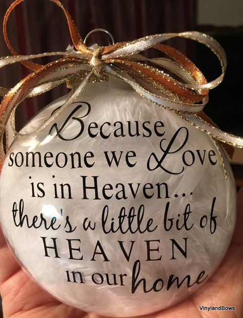 Because someone we love is in heaven ornament w/feaathers by VINYLandBOWS on Etsy Vinyl Christmas Ornaments, Memorial Ornaments, Christmas Baubles, Glass Ornaments, Glitter Ornaments, Handmade Ornaments, Christmas In Heaven Ornament, Vinyl Christmas Shirts, Christmas Crafts To Sell Handmade Gifts