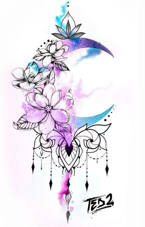 Inspirational Tattoos, Tattoo Sleeve Designs, Tattoos, Watercolor Tattoo Flower, Flower Tattoo Designs, Watercolor Tattoo Sleeve, Small Henna Tattoos, Tattoo Designs, Paisley Tattoos