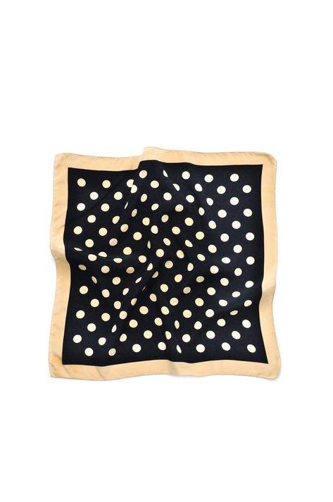 Vintage Black & Tan Polka Dot Square Scarf from Sweet & Spark