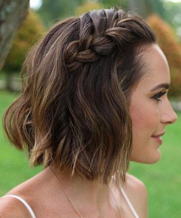 Simple Side Braid 11 Surprisingly Easy Braids For Short In 2020 Short Wedding Hair Cute Hairstyles For Short Hair Thick Hair Styles