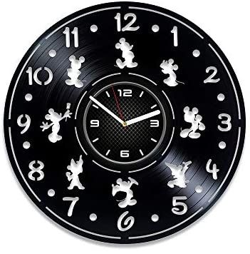 Amazon Com Decorstudioua Disney Clock 12 Inch Vinyl Clock Mickey Mouse Minnie Mouse Wall Clock Modern Disney In 2020 Disney Clock Mickey Mouse Clock Wall Clock Modern