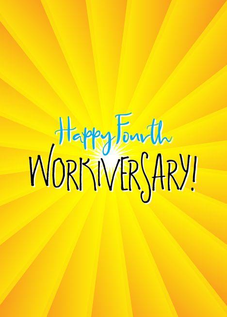 Work Anniversary Happy Fourth Workiversary Card Ad Spon Happy Anniversary Work Card Work Anniversary Work Anniversary Quotes Work Anniversary Cards