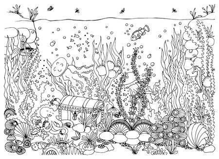 Image Result For Underwater Treasure Chest Drawings Underwater Drawing Water Animals Art Mandala Design Art