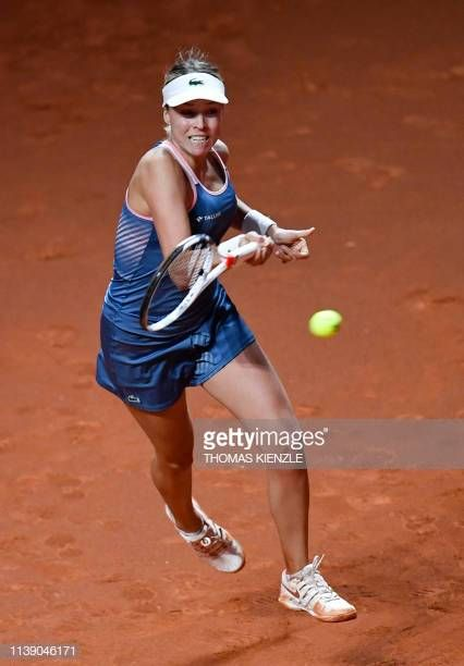 Estonia S Anett Kontaveit Returns The Ball To France S Caroline Garcia During Their Match At The Wta Tennis Grand Prix In Stuttgart S Estonia Wta Tennis France