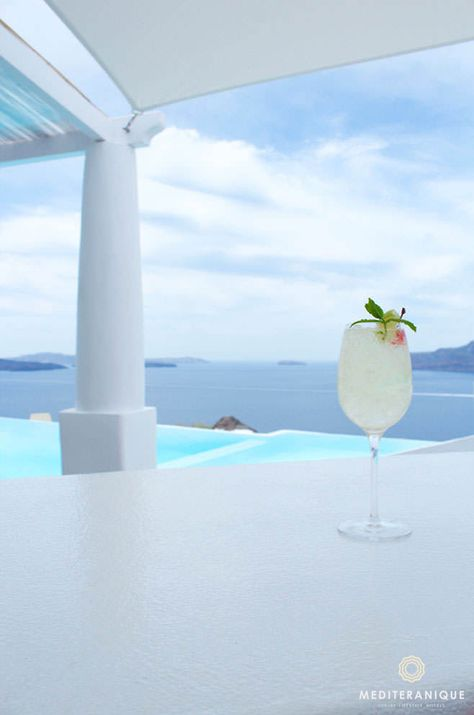 Cocktails with immaculate views, Kirini Suites & Spa in Santorini, Greece