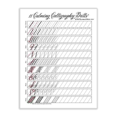 Thissheet provides you with eleven unique calligraphy drills to help you practice using your dip pen! It will serve you best when printed on 32# laserjet paper, and you can use it with any pen and nib combination. Please enjoy this printable for personal use(do not redistribute for profit). If you enjoy this printable, check out Not Your Average Calligraphy Drills: Under the Sea Edition! It provides sixteen pages of artistic calligraphy drills for fun and challenging dip pen practice.
