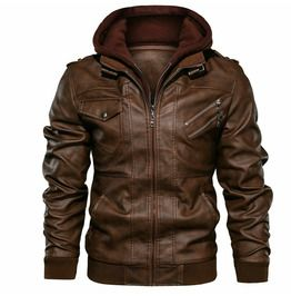 Faux Jacket, Leather Jacket With Hood, Faux Leather Jackets, Hooded Jacket, Leather Coats, Jacket Men, Hooded Coats, Mens Leather Jacket Styles, Mens Brown Leather Jacket