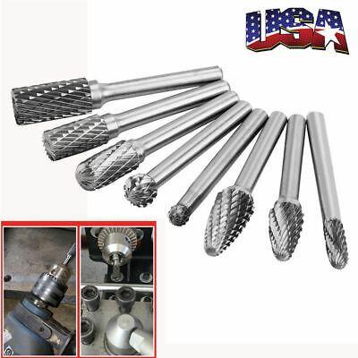 5Pcs Dia.8mm 1//4/'/' Tungsten Carbide Rotary Point Burr Die Grinder Shank Set US