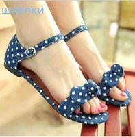 Big Size 34-43 Sweet Polka Dot Bow shoes Transpierce Gentlewomen Brief Hasp flat-bottomed Female Sandals 2014 Summer New flat