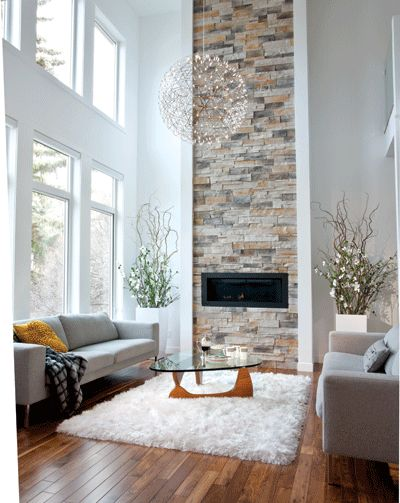 A 20 Foot High Ceiling Is Shown Off With Ribbon Of Stonework That Reaches Upward From The Fireplace And Airy Qualities Both Moooi Penda