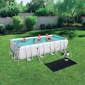 Bestway Power Steel Rectangular Above Ground Pool With Solar