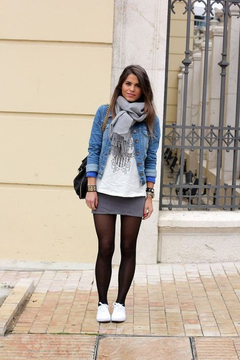 Denim jacket this fall stylecaster black tights, casual fall outfits, winte