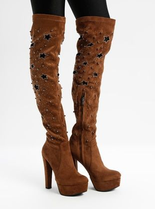 بيج بوت جزمة جزم Heels Beige Boots Heeled Boots