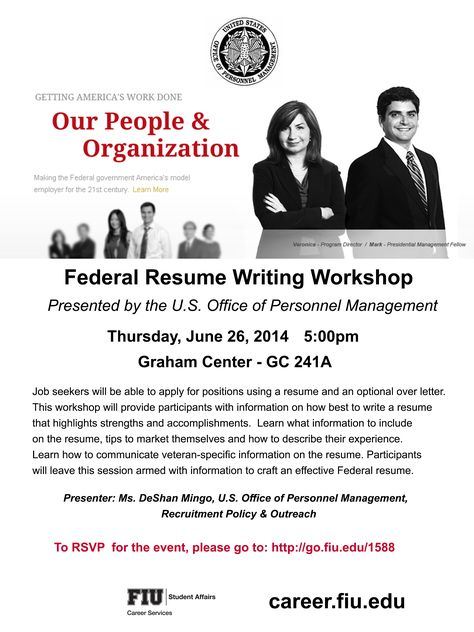 Thinking of working for the Federal Government, then make sure to - resume writing workshop