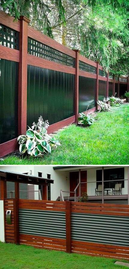 Backyard Fence Ideas Wood Corrugated Metal 23 Trendy Ideas
