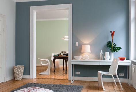 Wohnzimmer einrichten Ideen blaue Farbe Wand Gestaltung Home - farben wohnzimmer wand