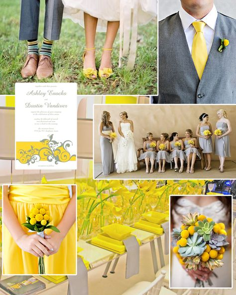 yellow + gray wedding color inspiration | Yellow Wedding ...