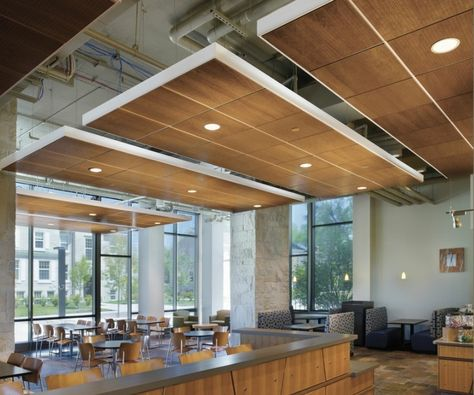 Floating ceiling - it suits this space as it is a high space, it could work too for the HQ space. www.CorporateCare.com