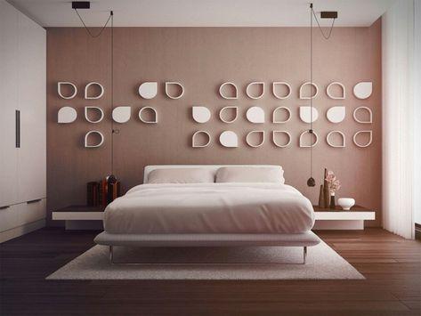 stanza-da-letto-moderna-parete-colore-beige-decorazioni-due ...