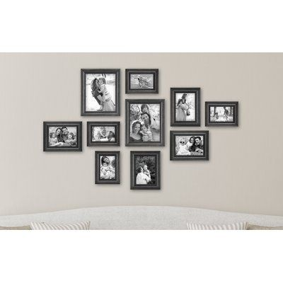 Charlton Home 10 Piece Ince Picture Frame Set Color Black Washed Woodgrain In 2020 Picture Frame Sets Frames On Wall Gallery Wall Frame Set