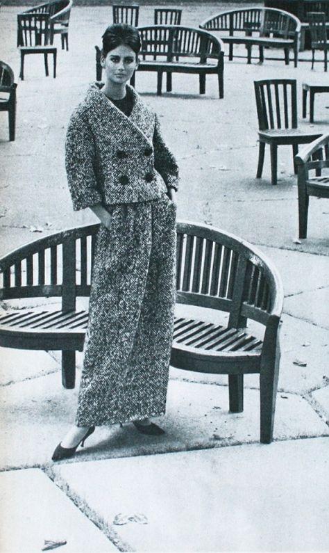 Model is wearing a tweed ensemble by Simonetta et Fabiani, 1962