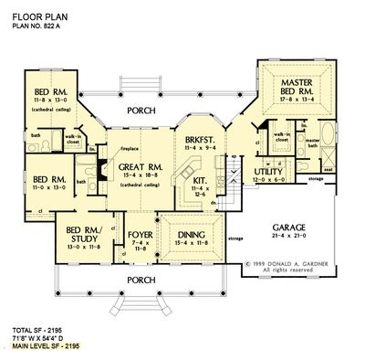 Classic Country Home Plans One Story Ranch Houseplans Basement House Plans Dream House Plans Bedroom House Plans
