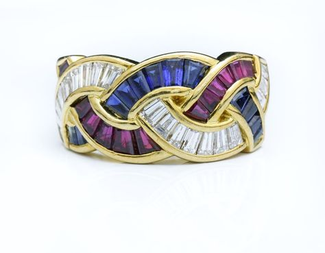 GORGEOUS 18K YELLOW GOLD 2 CT DIAMOND RUBY SAPPHIRE BRAIDED RING ~ MADE IN ITALY #unknown #Braided