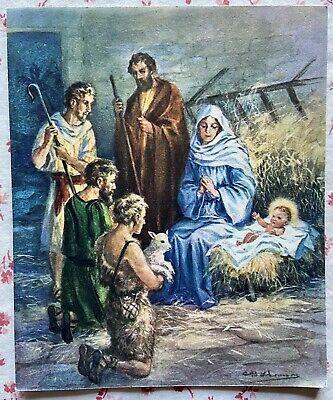 Christmas Greeting 2020 Music Vintage UNUSED Charles R. Thomson Christmas Nativity Manger Music
