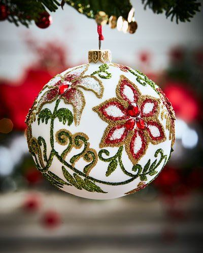 Pre Cooked Christmas Dinner From Neiman Marcus 2020 White Glass Ball Christmas Ornament With Flowers & Leaves in 2020