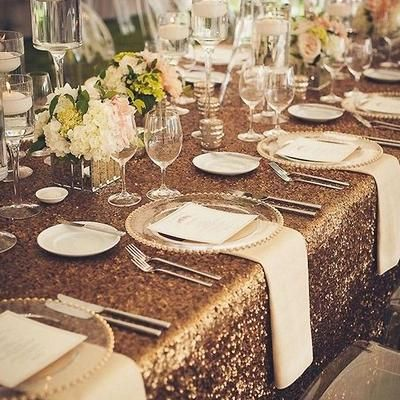 90 X156 Gold Premium Sequin Rectangle Tablecloth Glam Wedding Decor Wedding Table Long Table Wedding