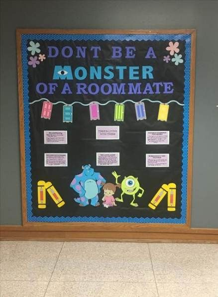 My monsters inc themed floor for freshmen #ra bulletin board