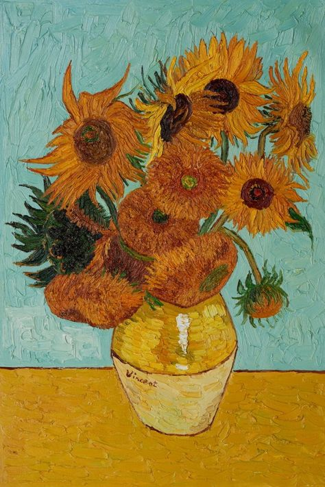 Van Gogh loved sunflowers as a subject.Impressionism by Vincent Van Gogh. Van Gogh paintings are studies in color. Be inspired by his art to help you understand how to put a paint color scheme together. Van Gogh Art, Art Van, Vincent Van Gogh, Van Gogh Pinturas, Van Gogh Sunflowers, Van Gogh Paintings, Dance Paintings, Digital Paintings, Digital Collage