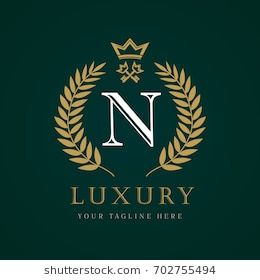 Luxury Calligraphic Letter N Crown And Key Monogram Logo Laurel Elegant Beautiful Round Logo With Cro Handmade Logo Ideas Handmade Logo Restaurant Logo Design