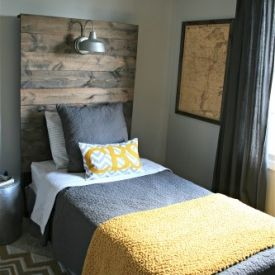 Headboard with built-in light - love this idea - i could read in bed easier  AND clean up space on the nightstand!   DIY Furniture and Home Decor    Pinterest ...