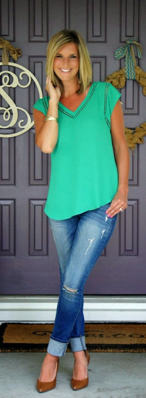 Stitch Fix 41Hawthorn Carla Crochet Detail Blouse - great look with jeans or work pants