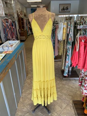 Yellow Overlay Maxi Dress with Burgundy Fringes