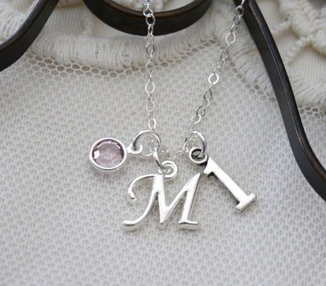 First Birthday Gifts For Girls One Charm Necklace 1 Number Gift Personalized Initial Birthstone