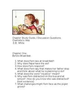 Charlotte's Web Chapter One study and discussion guide | Third Grade