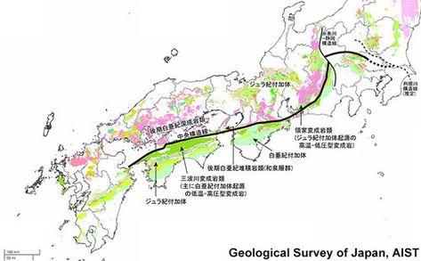 図2 地質境界としての中央構造線とその周囲の地層 岩石 20万分の1