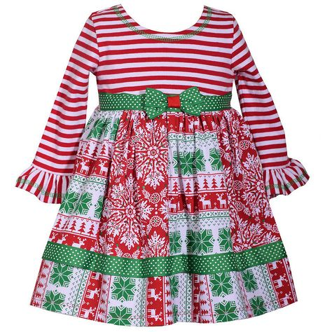 Bonnie Baby Baby-Girls Ribbon Turkey Appliqued Mixed Knit Print Dress
