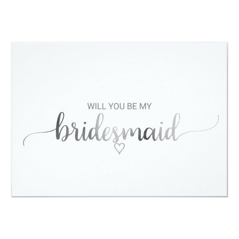 #promo Simple Silver Foil Calligraphy Bridesmaid Proposal Invitation #will #you #be #my #bridesmaid #Invitation #weddingparty #bridalparty #proposalcards #bridesmaidproposal #maidofhonorproposal #weddingcards #zazzle #weddingpartyproposal