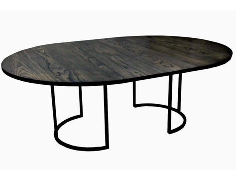 """store / furniture / tables / extendable modern oval table  Various sizes and wood tops available. This is priced as white oak 68"""" round that extends to 104"""" length. This table is incredible in person. Very flexible!        Contact info@hingedesignstudio.com for more"""