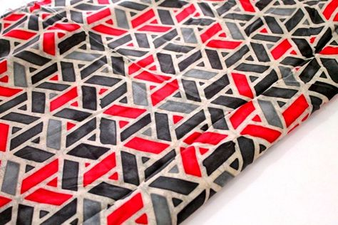 Modal Cotton Geometric Grey and Red #modalfabric #Indianfabric #dressmaterial
