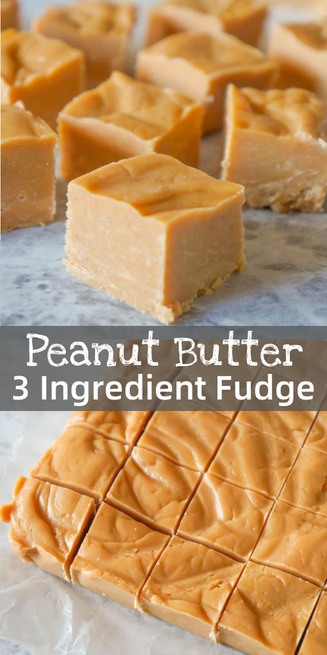 Easy Peanut Butter Fudge is an easy three ingredient microwave fudge recipe made.Easy Peanut Butter Fudge is an easy three ingredient microwave fudge recipe made with vanilla frosting, Reese's peanut butter baking chips and smooth peanut butte Fudge Recipes, Candy Recipes, Sweet Recipes, Wine Recipes, Köstliche Desserts, Delicious Desserts, Dessert Recipes, Breakfast Recipes, Hot Fudge