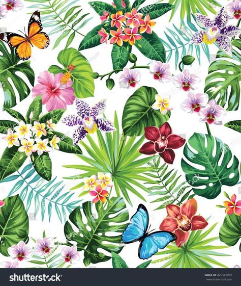 Seamless pattern with palm leaves, tropical flowers and butterflies. Vector illu...