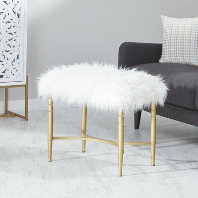 Mercer41 Askerby Metal Faux Fur Accent Stool In 2020 Furniture