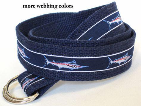 SAMPLE SALE Blue Canvas Belt Fish D Ring Belt by