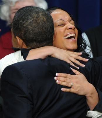 A happy hug recipient.