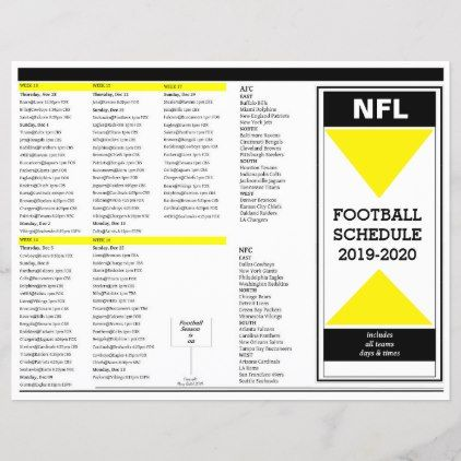 Calendrier Nfl 2020 2019.Nfl 2019 2020 Football Schedule Editable Zazzle Com In
